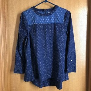 Chic Blue Long Sleeve Madewell Hi-Lo Blouse Sz S